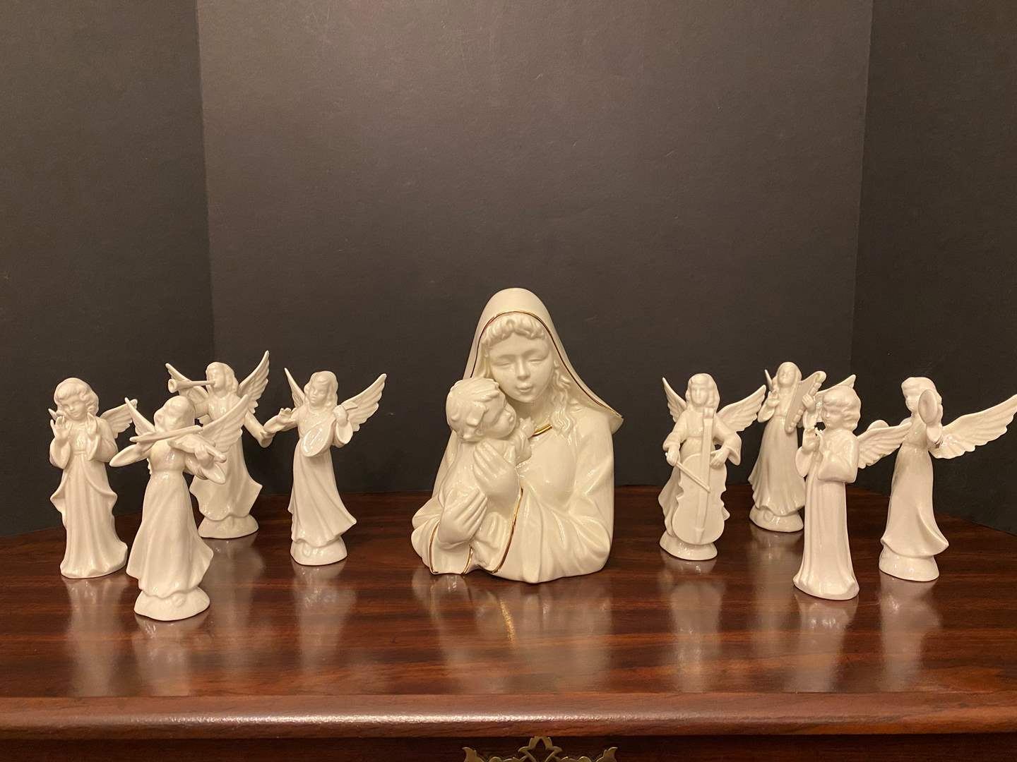 "Lot # 16 - ""Mikasa"" Porcelain Figurine w/Eight Porcelain ""Dresden"" Angels (main image)"