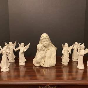 "Lot # 16 - ""Mikasa"" Porcelain Figurine w/Eight Porcelain ""Dresden"" Angels"