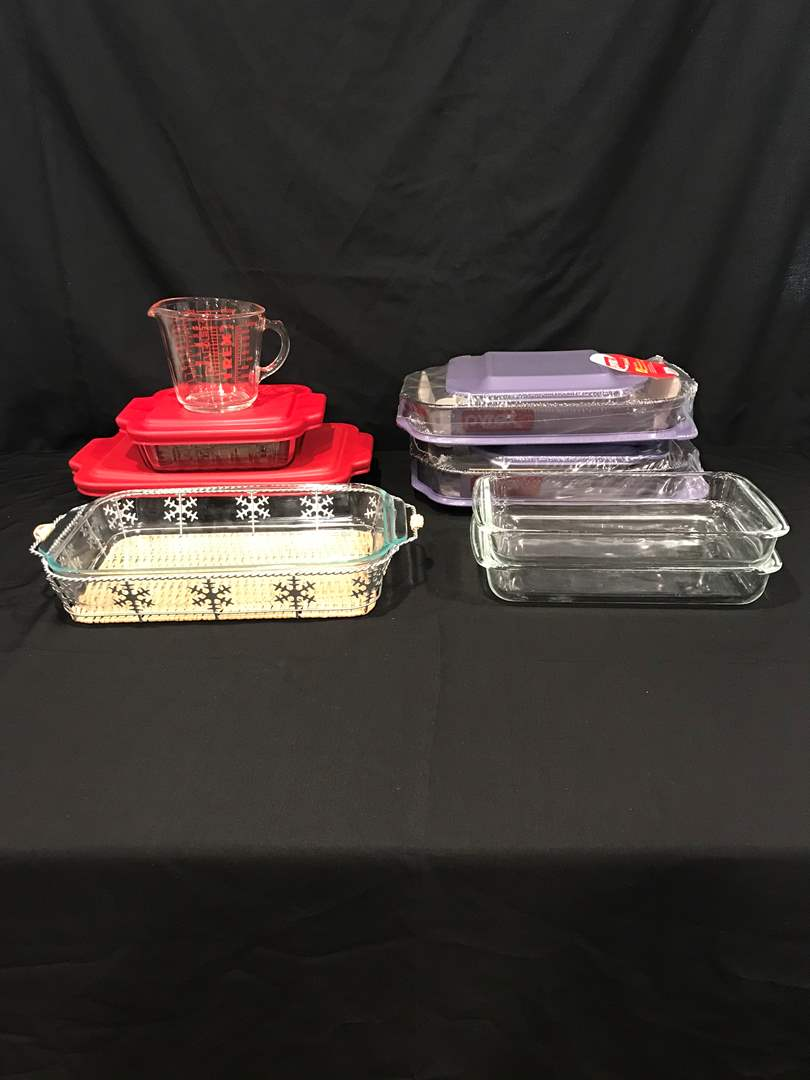 Lot # 63 - Lot of Pyrex & Anchor Hocking Baking Dishes - Some New in Box w/Lids (main image)