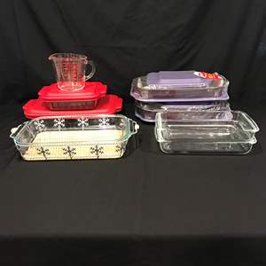 Lot # 63 - Lot of Pyrex & Anchor Hocking Baking Dishes - Some New in Box w/Lids