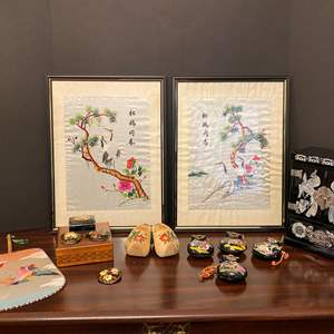 Lot # 22 - Asian Artwork, Wood Musical Jewelry Box, Signed Handmade Broaches & More..