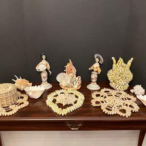 Lot # 24 - Misc. Collection of Sea Shell Artwork & Shells
