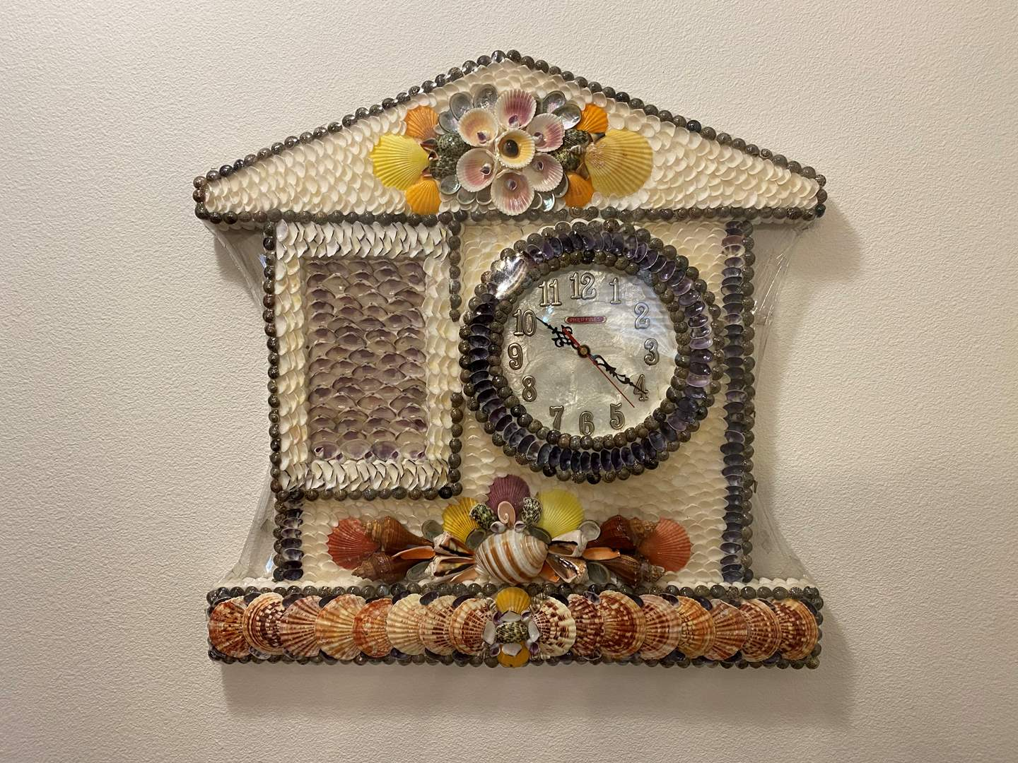 Lot # 25 - Awesome Wall Clock Made Out of Sea Shells from the Philippines  (main image)