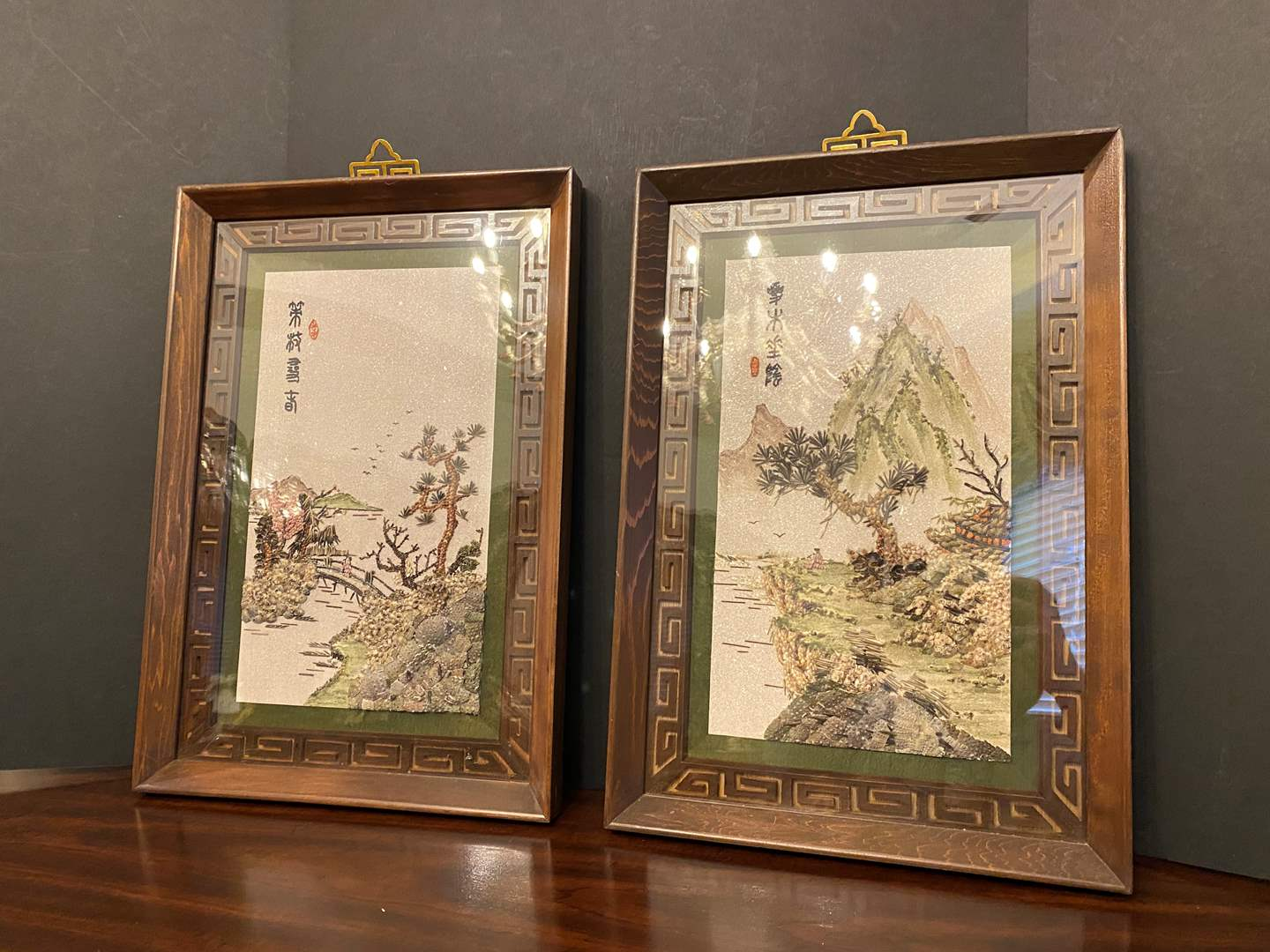 Lot # 26 - Two Pieces of Asian Artwork Made Out of Tiny Seashells  (main image)