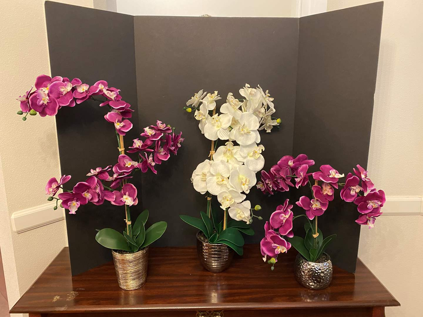 Lot # 28 - Three Artificial Orchids (main image)