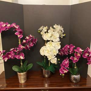Lot # 28 - Three Artificial Orchids