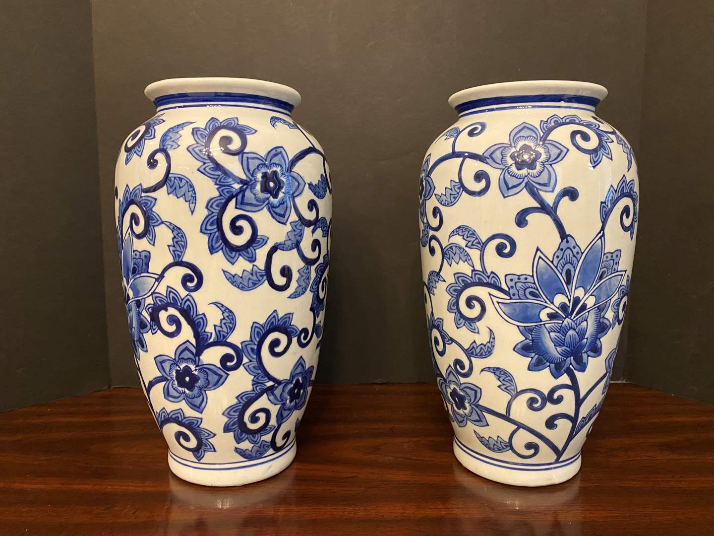 "Lot # 29 - Two Delft Blue & White Porcelain Vases - 12"" Tall  (main image)"