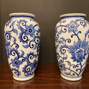 """Lot # 29 - Two Delft Blue & White Porcelain Vases - 12"""" Tall"""
