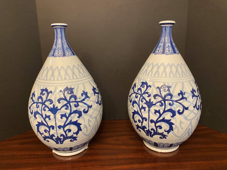 "Lot # 30 - Two Delft Blue & White Porcelain Vases - 16"" Tall  (main image)"