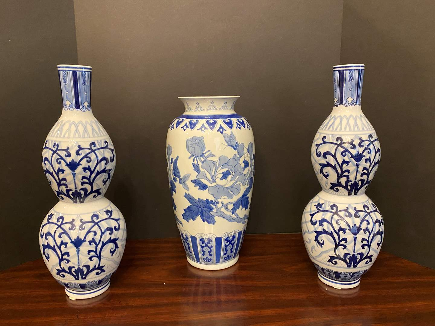 "Lot # 31 - Three Delft Blue & White Porcelain - 16"" & 14"" Tall  (main image)"
