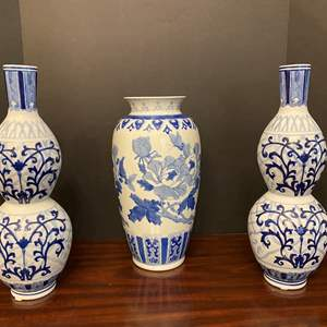"Lot # 31 - Three Delft Blue & White Porcelain - 16"" & 14"" Tall"