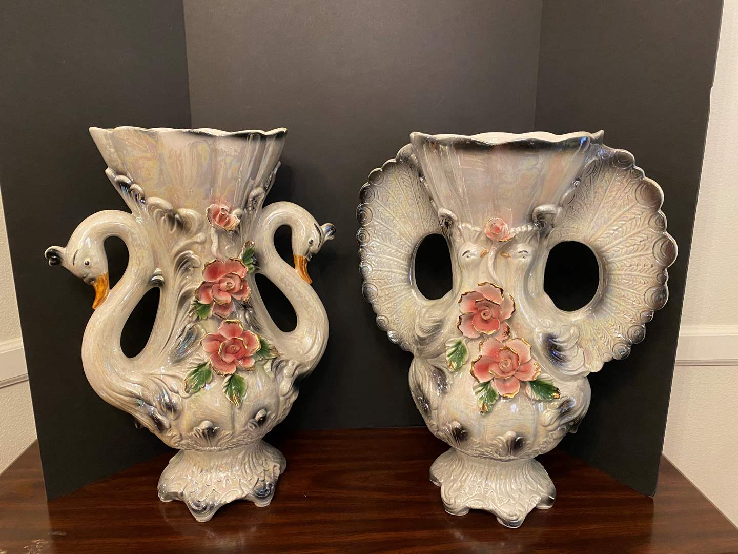 """Lot # 32 - Two Huge Awesome Capodimonte? Porcelain Swan Vases - 23"""" Tall  (main image)"""