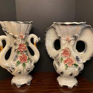 """Lot # 32 - Two Huge Awesome Capodimonte? Porcelain Swan Vases - 23"""" Tall"""