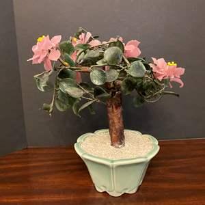 Lot # 34 - Small Glass/Jade Tree
