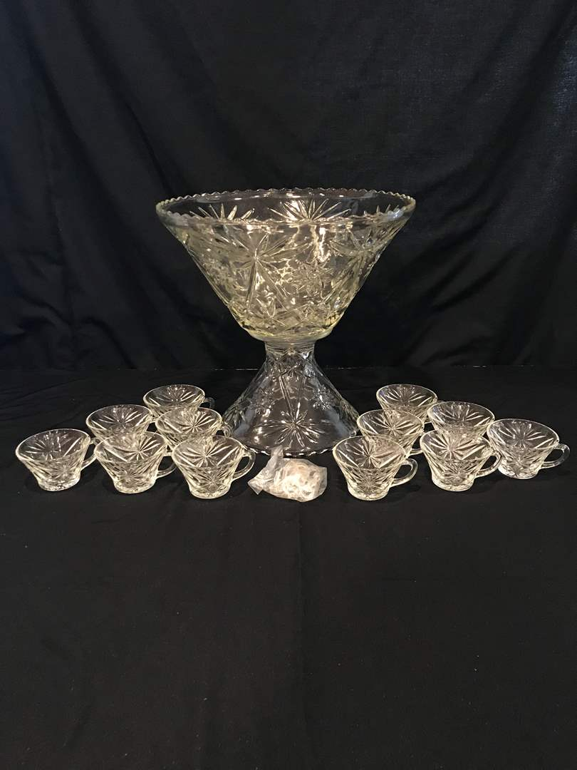 Lot # 70 - Early American Prescut Punch Bowl & Cups (main image)
