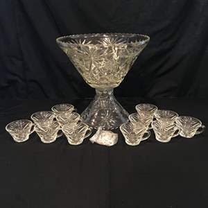 Lot # 70 - Early American Prescut Punch Bowl & Cups