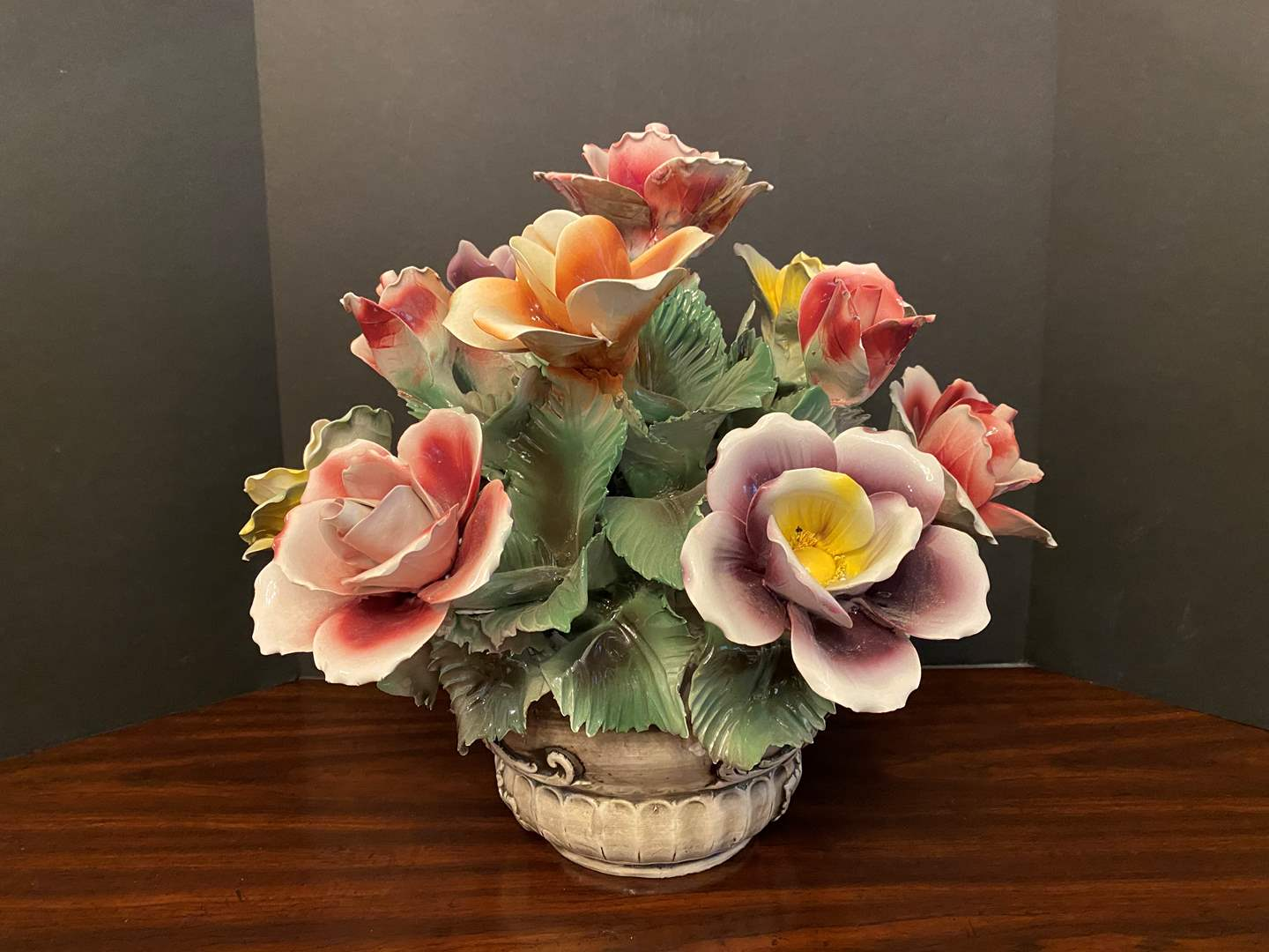 Lot # 35 - Large Porcelain Capodimonte? Floral Arrangement  (main image)