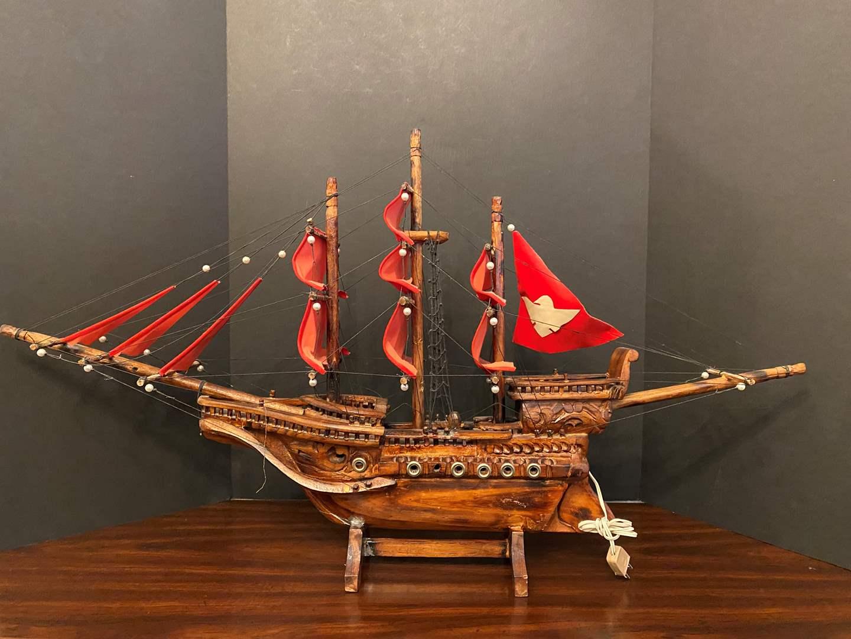 Lot # 37 - Large Lighted Wood Ship (main image)