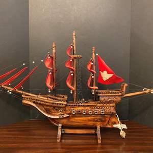 Lot # 37 - Large Lighted Wood Ship