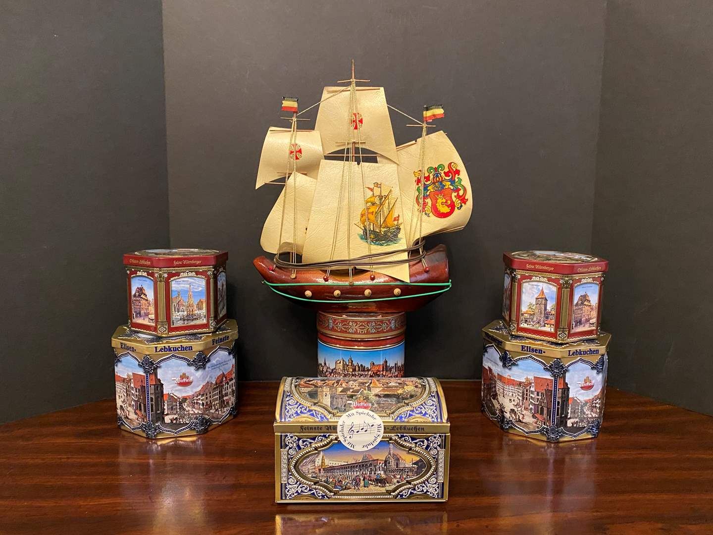 Lot # 38 - Lighted Wood Ship w/German Tins (main image)