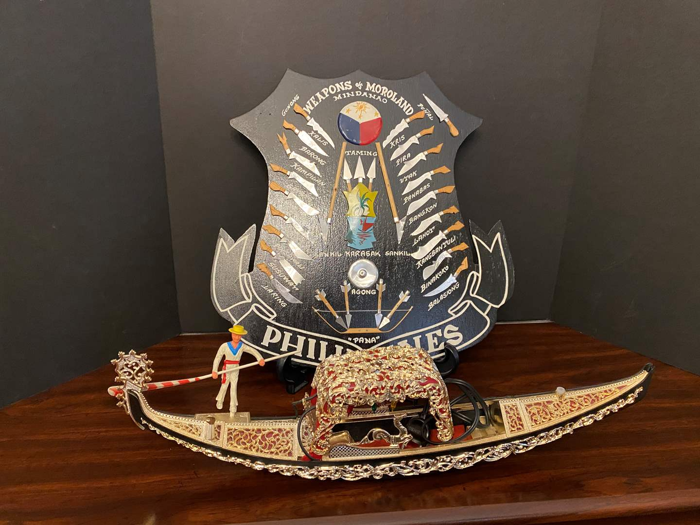 Lot # 39 - Philippines Weapons Shield, Acrylic Lighted Boat (main image)