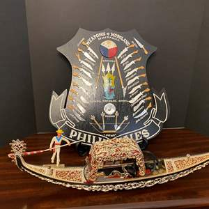Lot # 39 - Philippines Weapons Shield, Acrylic Lighted Boat