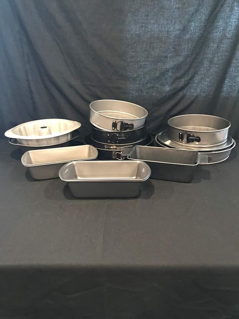 Lot # 73 - Large Lot of Baking Pans: Springform Cake Pans of Various Sizes, Bread Pans & Angel Food Cake Pans (main image)