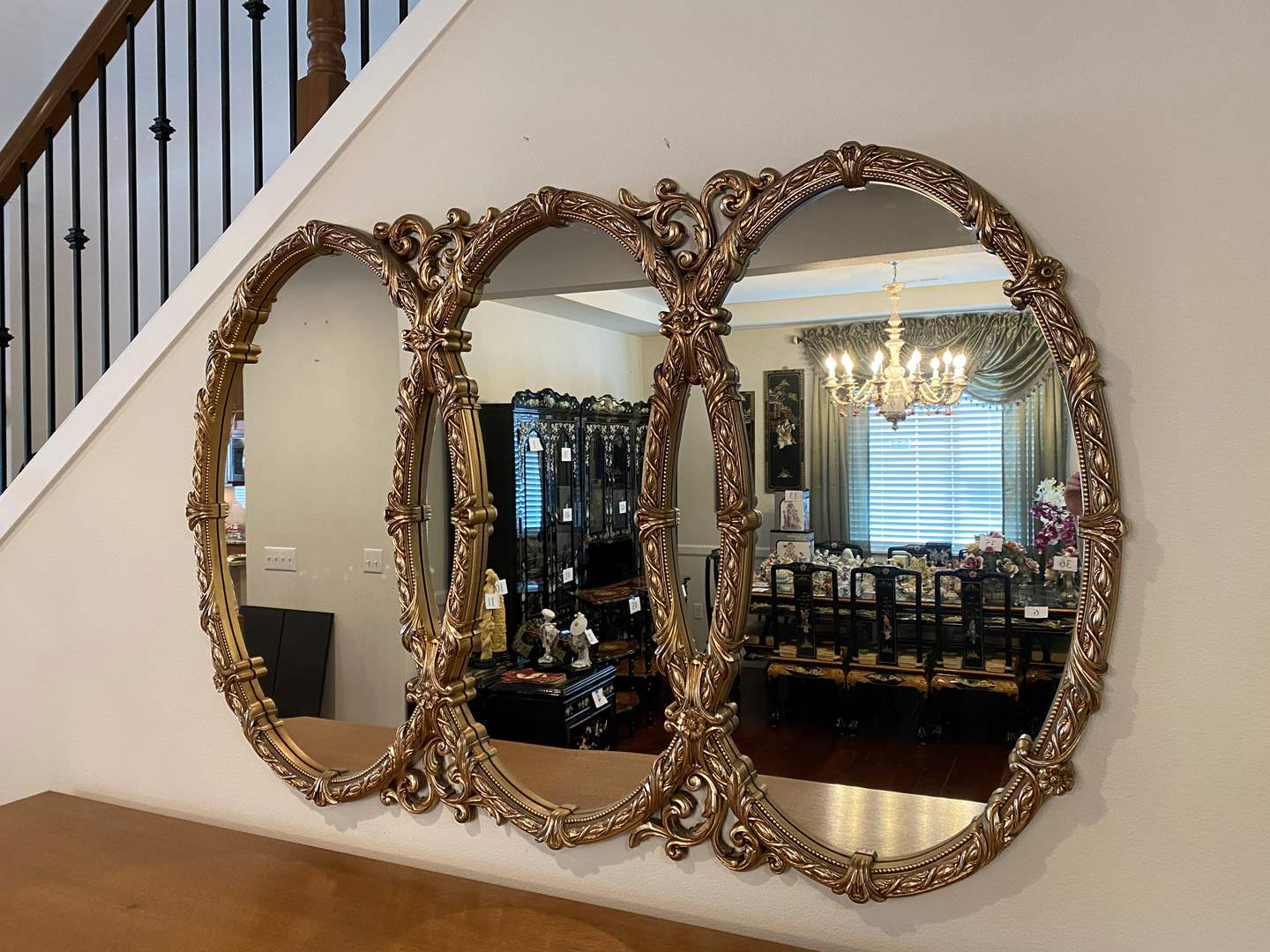 Lot # 46 - Huge Gold Tone Acrylic Mirror  (main image)