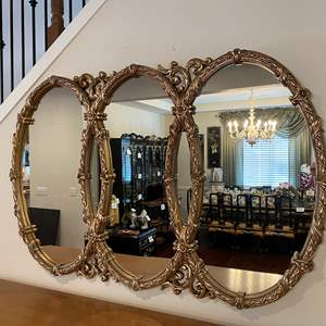 Lot # 46 - Huge Gold Tone Acrylic Mirror