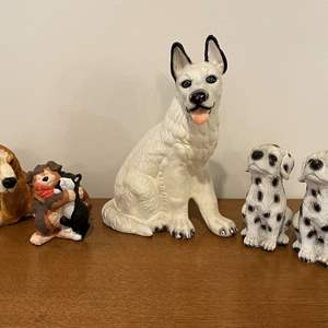 Lot # 100 - Vintage Cement, Ceramic & Resin Dogs