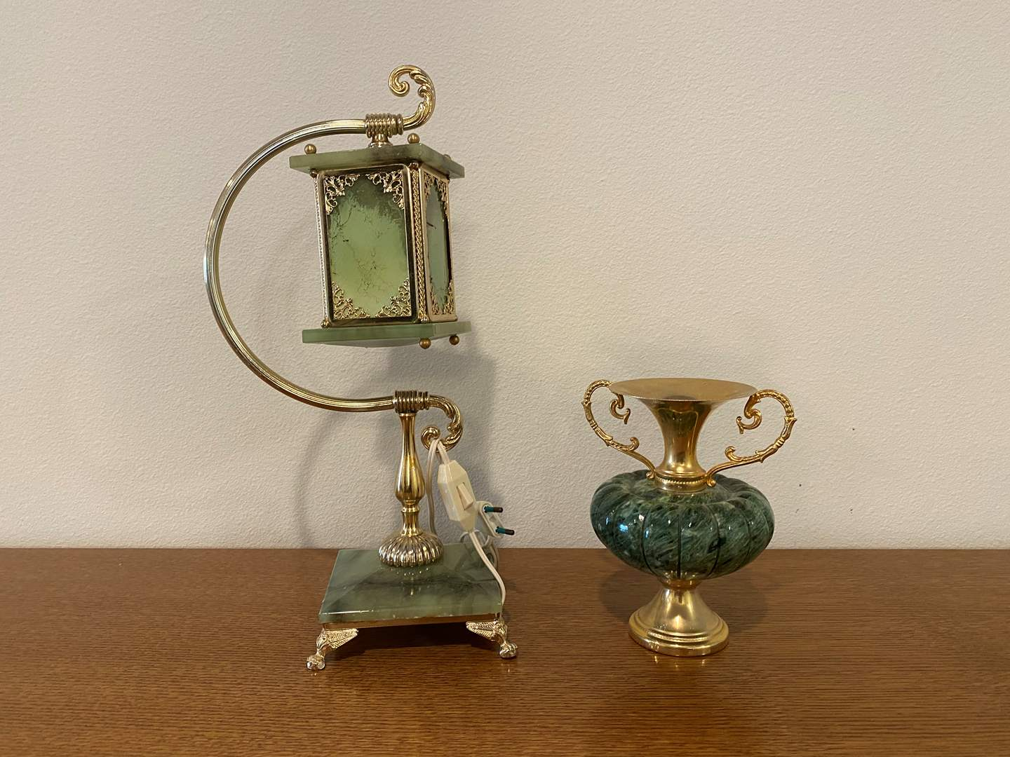 Lot # 103 - Nice Marble & Brass Lamp w/Marble & Brass Urn (main image)