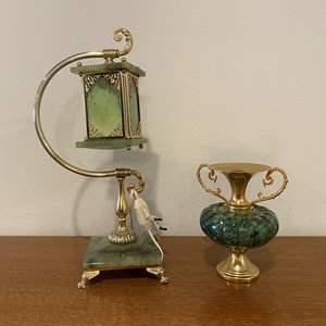 Lot # 103 - Nice Marble & Brass Lamp w/Marble & Brass Urn