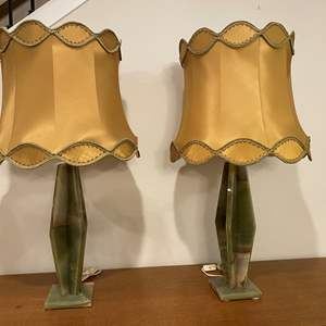 """Lot # 105 - Two Large Marble Table Lamps - 37"""" Tall"""