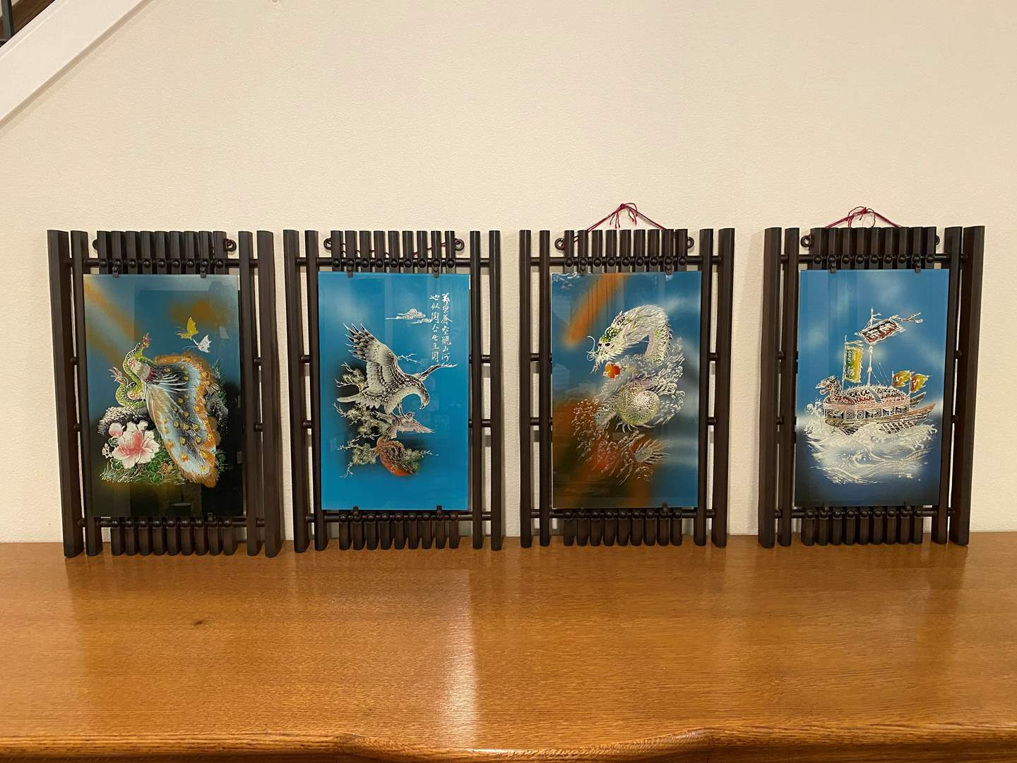 Lot # 106 - Four Pieces of Asian Painted Glass Artwork w/Acrylic Frames (main image)