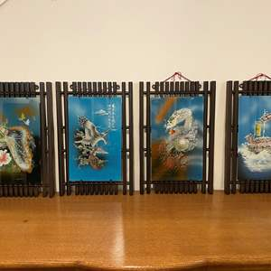 Lot # 106 - Four Pieces of Asian Painted Glass Artwork w/Acrylic Frames