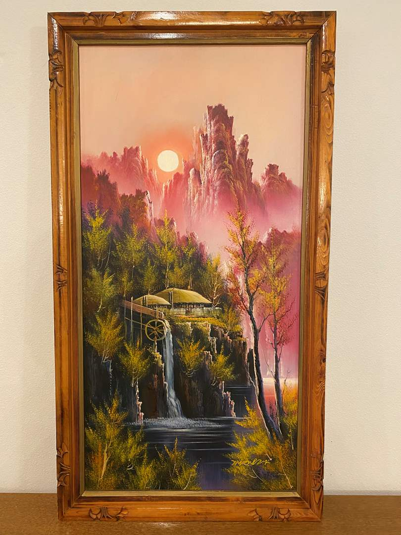 Lot # 108 - Beautiful Original Asian Oil on Canvas Signed Painting (main image)