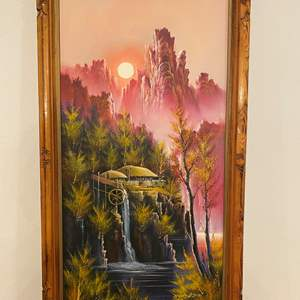 Lot # 108 - Beautiful Original Asian Oil on Canvas Signed Painting