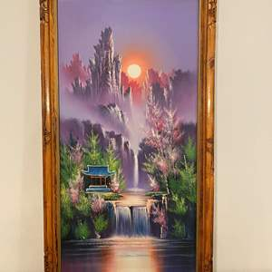 Lot # 109 - Beautiful Original Asian Oil on Canvas Signed Painting