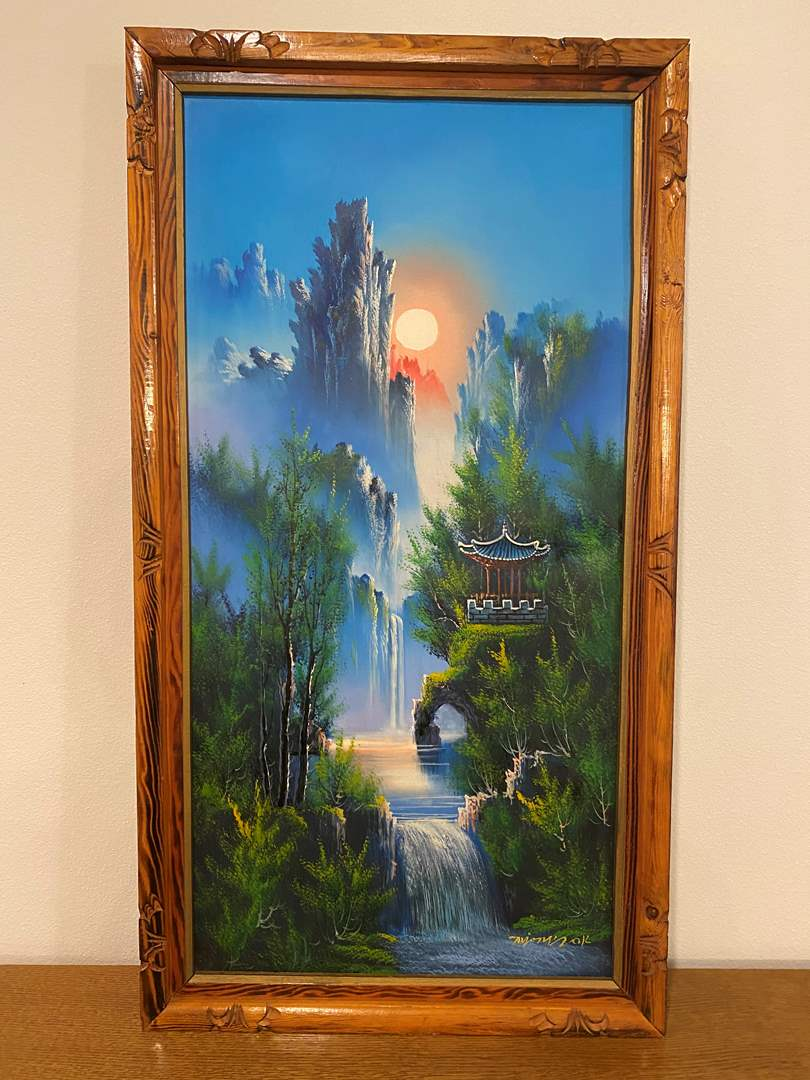 Lot # 110 - Beautiful Original Asian Oil on Canvas Signed Painting (main image)