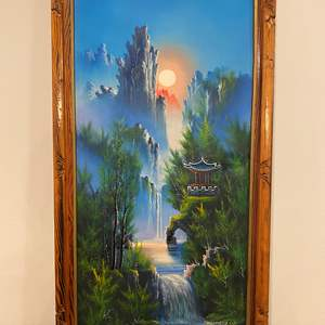 Lot # 110 - Beautiful Original Asian Oil on Canvas Signed Painting
