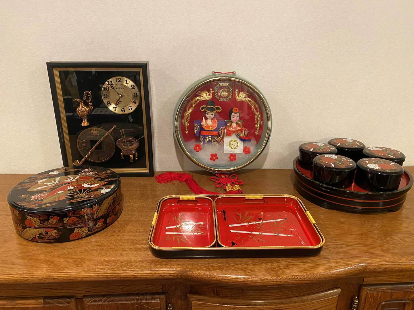 Lot # 111 - Collection of Acrylic Asian Trays, Clock & Decor (main image)