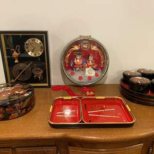 Lot # 111 - Collection of Acrylic Asian Trays, Clock & Decor