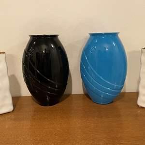 Lot # 115 - Two Black & Blue Glass Vases, Two White Ceramic Vases