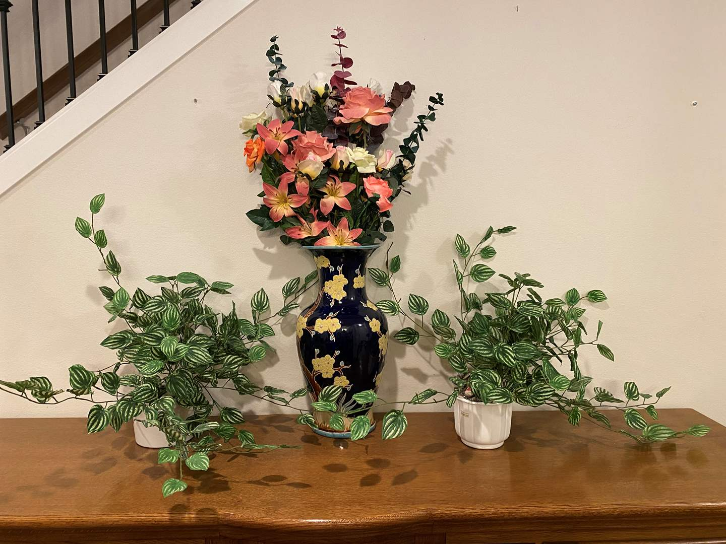 "Lot # 116 - Beautiful Vase w/Faux Flowers & Two Potted Faux Plants - Vase 21"" Tall  (main image)"