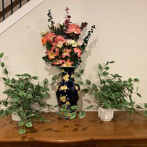 """Lot # 116 - Beautiful Vase w/Faux Flowers & Two Potted Faux Plants - Vase 21"""" Tall"""