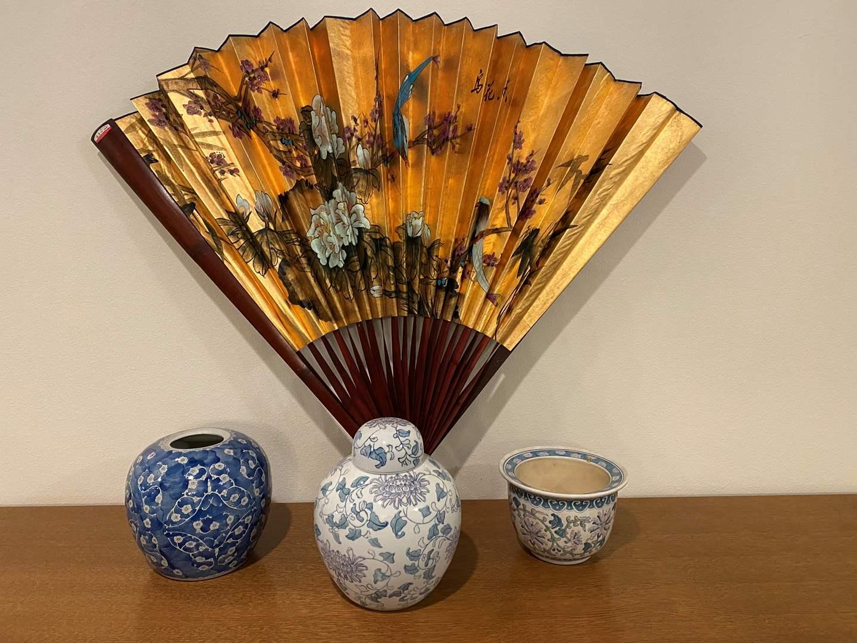 Lot # 117 - Asian Style Urns, Flowerpot & Large Fan (main image)