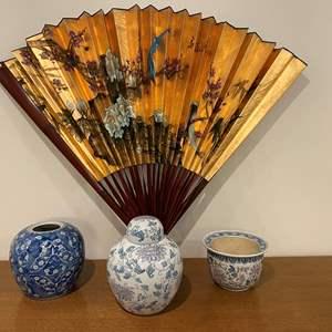 Lot # 117 - Asian Style Urns, Flowerpot & Large Fan