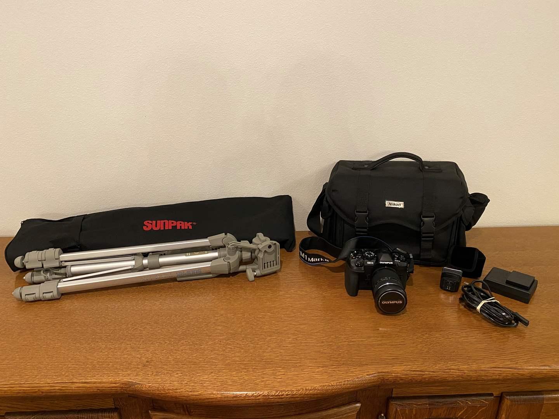 Lot # 120 - Lightly Used Olympus OM-D E-M1II Digital Camera, Like New Nikon Camera Bag, Sunpak 700I DX Tripod (main image)