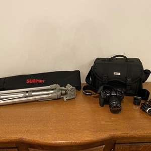 Lot # 120 - Lightly Used Olympus OM-D E-M1II Digital Camera, Like New Nikon Camera Bag, Sunpak 700I DX Tripod