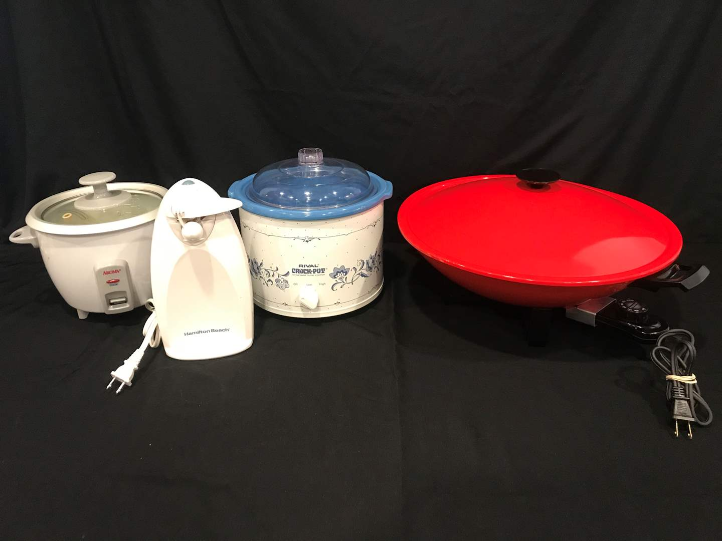 Lot # 85 - Rival Crock Pot, Presto Electric Wok, Hamilton Beach Electric Can Opener, Aroma Rice Cooker (main image)